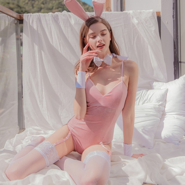 Velvet Rabbit Girl Sexy Uniform Underwear with Tail Role-playing Erotic Lingerie Bunny Costumes Cosplay Sexy Halloween Costumes 2