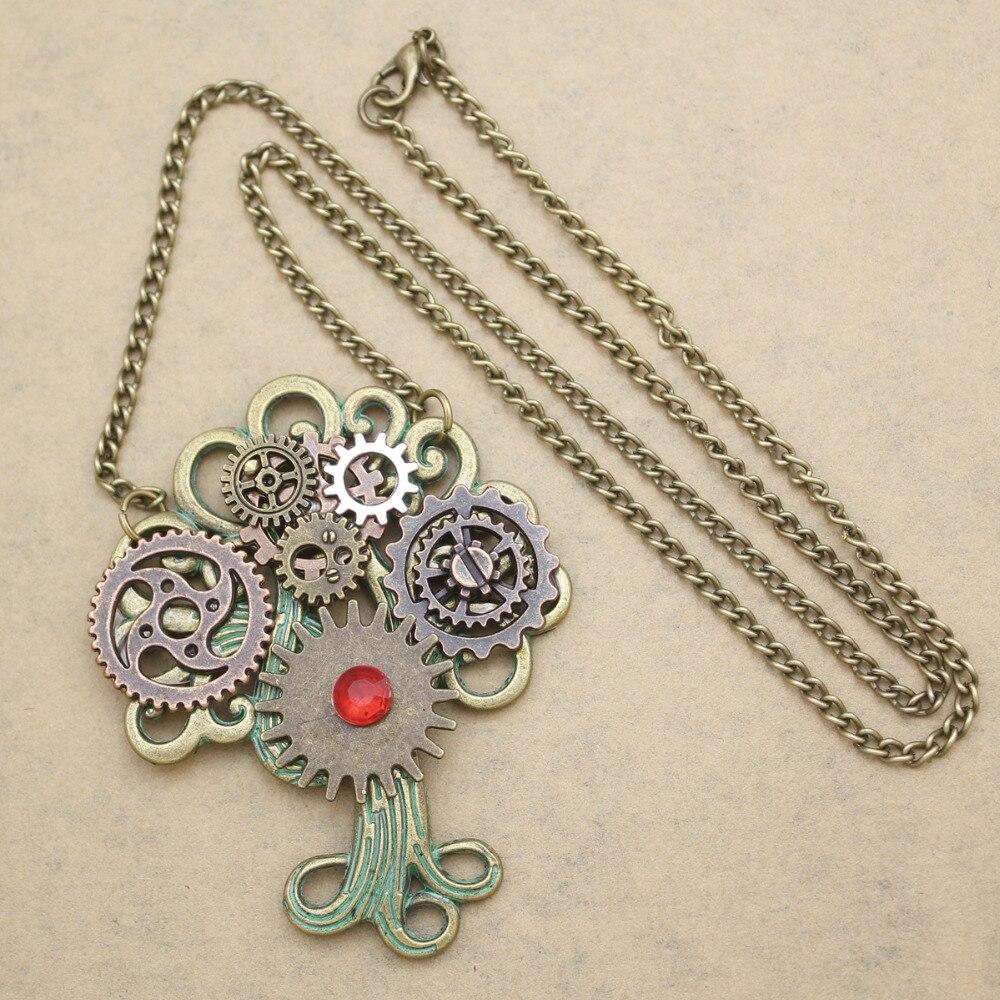 Vintage Gold Tree Of Life Yggdrasil Watch Clock Hand Gear Cog Steampunk Necklace Anime Boho Jewelry Men Women Unisex