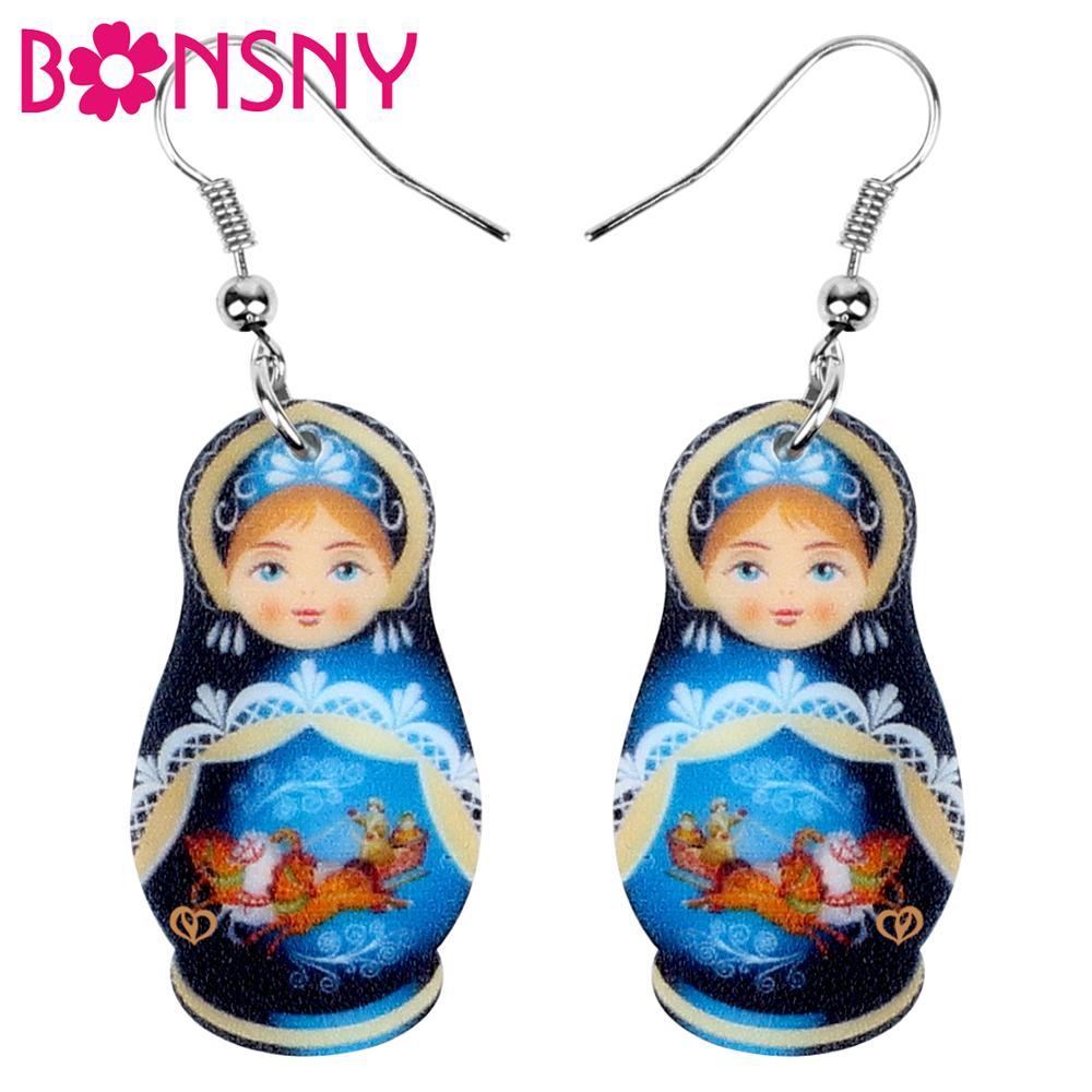 Bonsny Acrylic Cute Russian Doll National Culture Printing Earrings Drop Dangle Fashion Jewelry For Women Girls Teens Gift