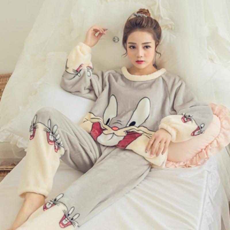2 Piece Flannel Winter Pyjamas Rabbit Cartoon Pajamas Pijama Women Lingerie Cute Warm Winter Sleepwear Pants Set Pajama Set Pink