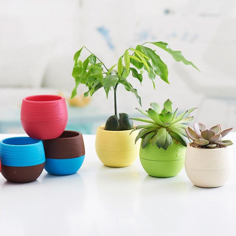 6PCS Rainbow Stone Pot Round Plastic Plant Flower Pot Home & garden Decor office Unbreakable nursery green Planter holder