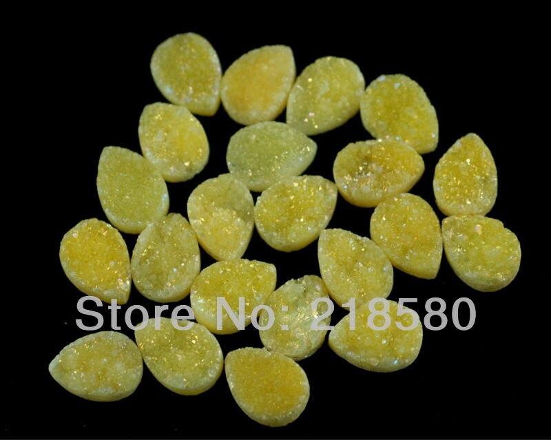 H-DCB50 25pcs Yellow Quartz Pear Shape Drusy Druzy Cabochon Beads 12mmx16mm