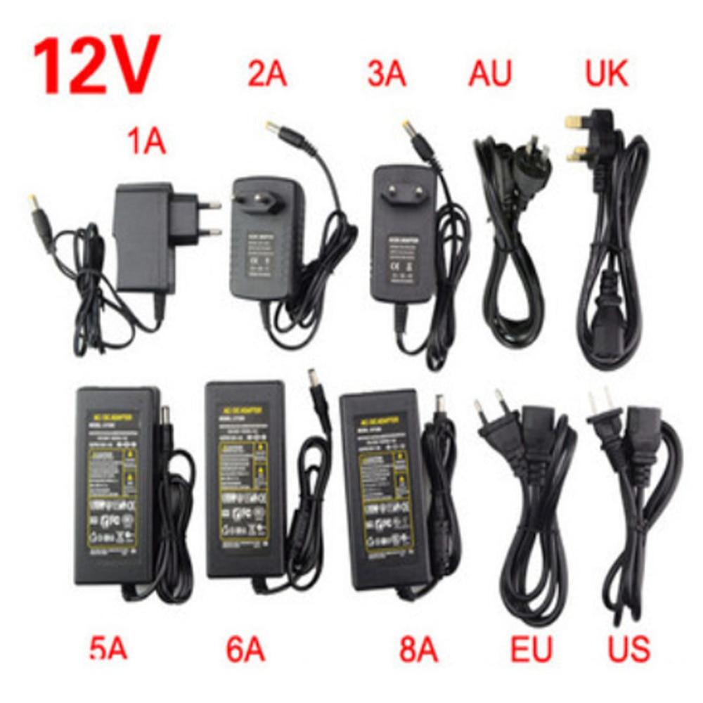 Светодиодный адаптер 12 В 1A 2A 3A 5A 6A 8A 10A блок питания светодиодной ленты трансформатор низкого напряжения вилка для светодиодной ленты и компьютера