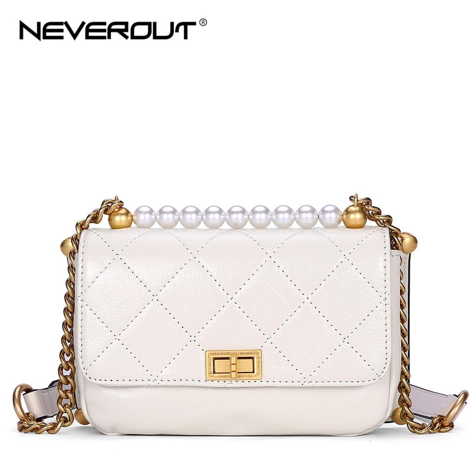 NEVEROUT Luxury Handbags Women Bags Designer Split Leather Shoulder/Messenger Bag Small Flap Chain Crossbody Sac a Main Femme