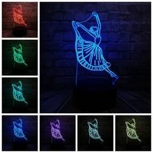 Novelty Modern Dance Dancer Lady 3D Lamp Night USB LED Lighting Ballerinator Christmas Decora Luminaria Friendship Lantern