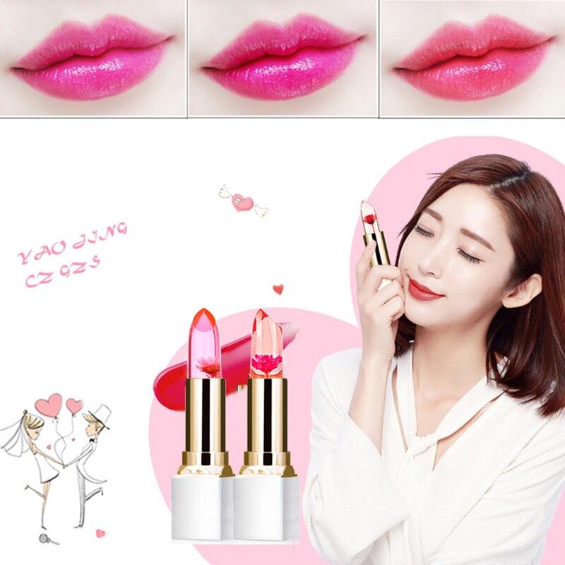 Claro Natural lápiz labial rojo cambio de Color de larga duración temperatura crema hidratante gelatina flor maquillaje lápiz de labio TSLM1