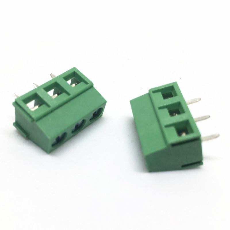 50 Uds KF127 PCB tornillo conector de bloque de terminales KF127-5.0-3P KF127-3P 300V 10A tornillo 3Pin recta de 5,0mm Pin PCB bloque de tornillos