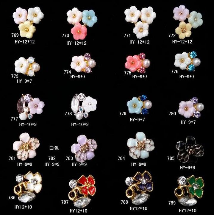 10pcs/lot, Nail Art 3d Alloy With Diamonds Rhinestones Flower Jewelry Pearls Stacks On Nails Salon Supplies