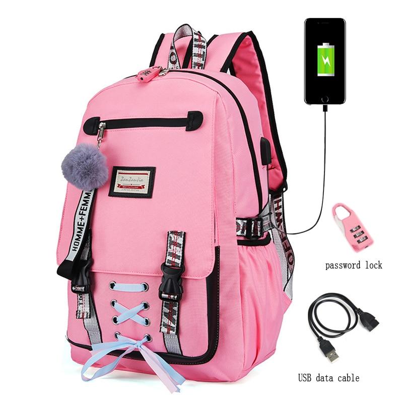 Woman Usb Charging School Bag Anti-theft Teenager School Bags For Girls School Backpack Mochila Infa