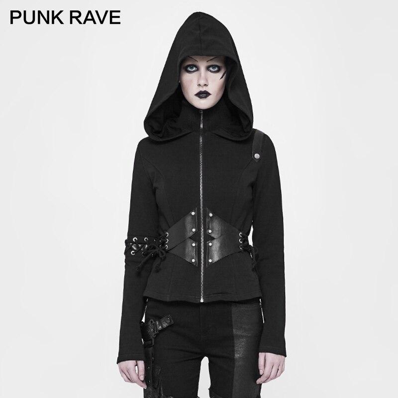 PUNK RAVE Punk Short Hat Cardigan mujer chaqueta PU elástico suéter Rib Fabric Zipper cuerda Slim Fit abrigos gótico con capucha prendas de vestir