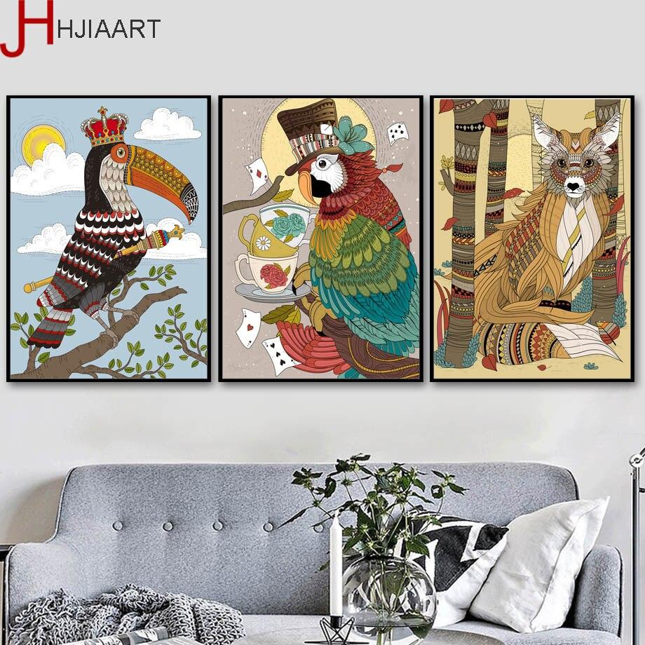 Toucan Parrot лиса плакаты и принты настенная живопись холст скандинавский плакат Настенные картины для гостиной Поп-Арт Декор