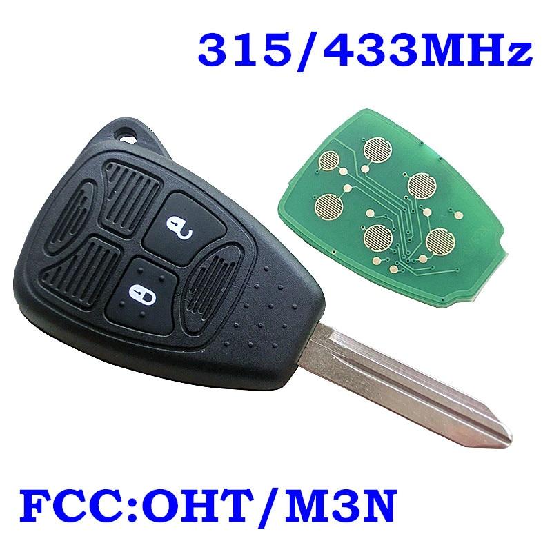 Nuevo mando a distancia sin llave FOB 2 botones 315Mhz/433Mhz ID46 para Chrysler ForDodge 300C Calibre Nitro Voyager M3N5WY72XX OHT692427AA