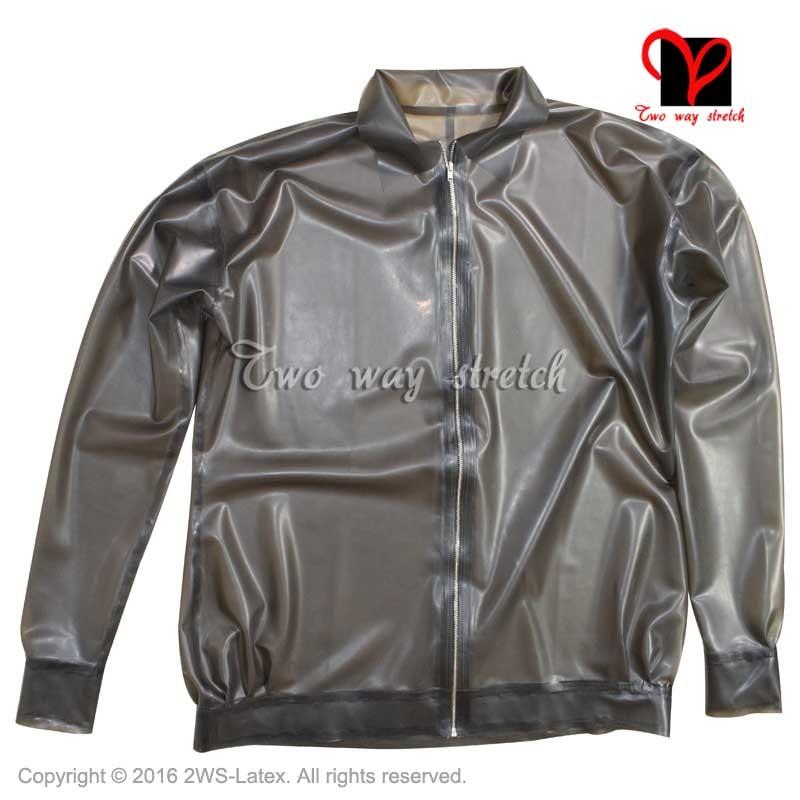 Sexy Black Latex jacket Long sleeves zipper front Rubber coat shirt Gummi Uniform blouse Top clothes clothing plus size SY-066
