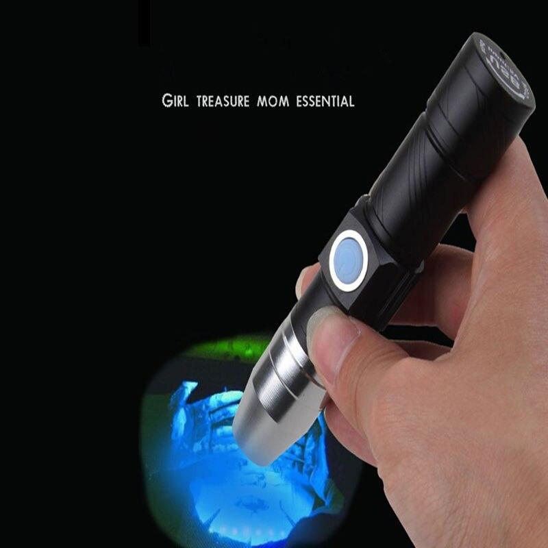 Lanterna uv 365nm jade lanterna usb recarregável para detecção fluorescente violeta anti-falsificação dinheiro detector lâmpada