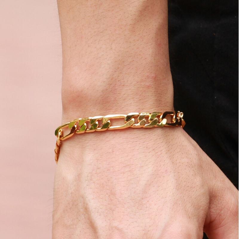 Pulseras gruesas de pulsera para hombre, cadena de mano de tono dorado, joyería de eslabones para hombres, pulseras de regalo para hombres