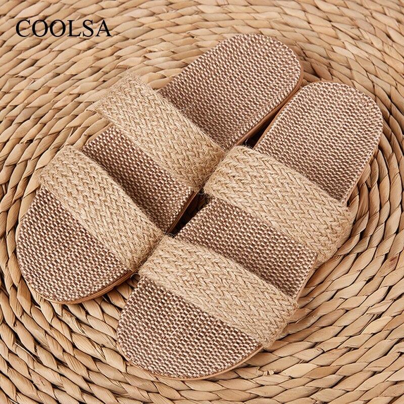 COOLSA, zapatillas de lino a rayas de calidad para mujer, par de zapatillas de lino ligeras y transpirables para interiores, chanclas para la salud cruzada