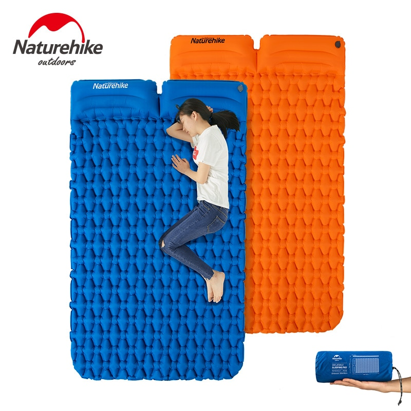 Naturehike de Camping Mat 1-2 Persona ultraligero colchón inflable cama de aire para dormir Pad plegable colchón de aire con la almohada