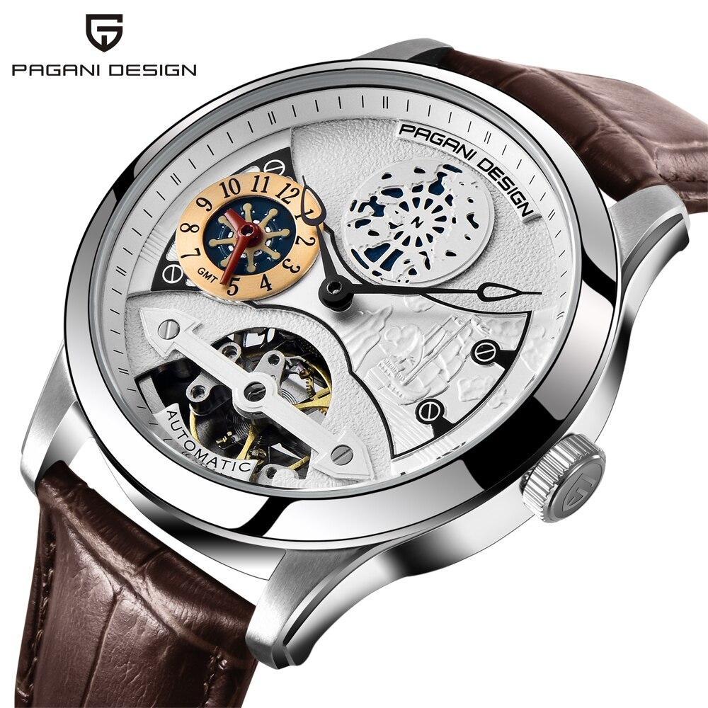 Pagani desig, moda de lujo, marca Pagani, reloj Tourbillon de cuero, reloj de pulsera automático, relojes mecánicos para hombres, reloj Masculino