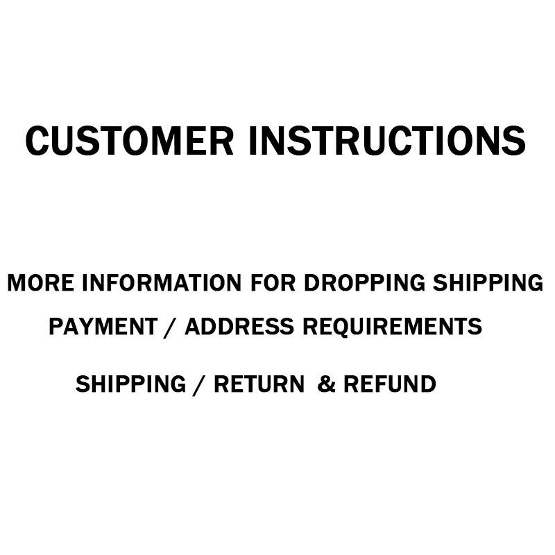 Instrukcje klienta więcej informacji o upuszczeniu wysyłki/płatności/wymagań adresowych/wysyłce/zwrocie i zwrocie kosztów