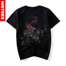 "HISTREX Japanse Stijl Kleding Borduren ""Chinese Dier"" Mannen T-shirt T-shirts Voor Man Tshirt Kleding Katoen Mens # TS1022"
