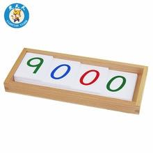 Montessori Baby Speelgoed Vroege Educatief Wiskunde Leren Speelgoed Grote PVC Aantal Kaarten Met Doos (1-9000)