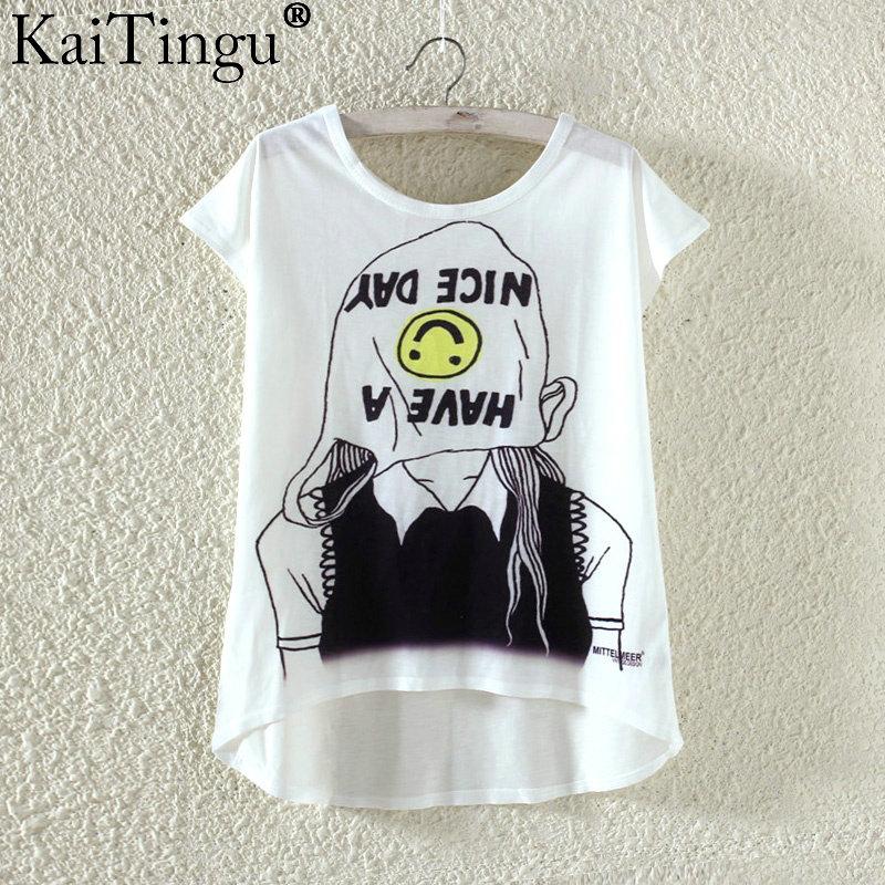 Kaitingu kawaii śliczne t koszula moda lato harajuku wysoki niski styl cat print t-shirt z krótkim rękawem t shirt kobiet topy plus size 7