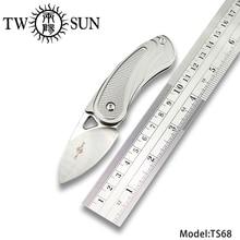 Deuxsun MINI M390 couteau pliant couteau de poche couteau de camping outil de survie en plein air EDC TC4 titane à ouverture rapide roulements à billes TS68