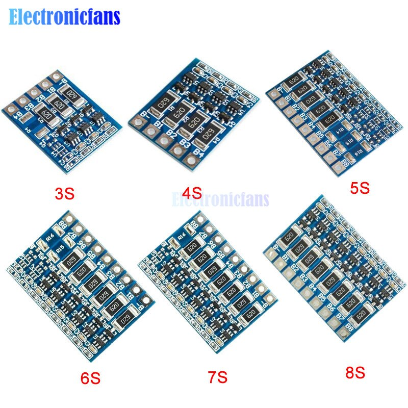 3S 4S 5S 6S 7S 8S 4.2v fonction déquilibre carte de Protection 66mA Li-ion Lipo batterie Lithium 18650 Batteries Module équilibré