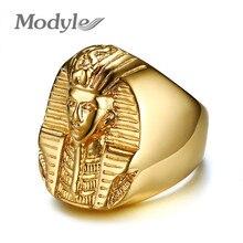 Modyle 골드 컬러 신비한 이집트 파라오 반지 락 티타늄 스테인레스 스틸 남성 인장 반지 남성 쥬얼리에 대한