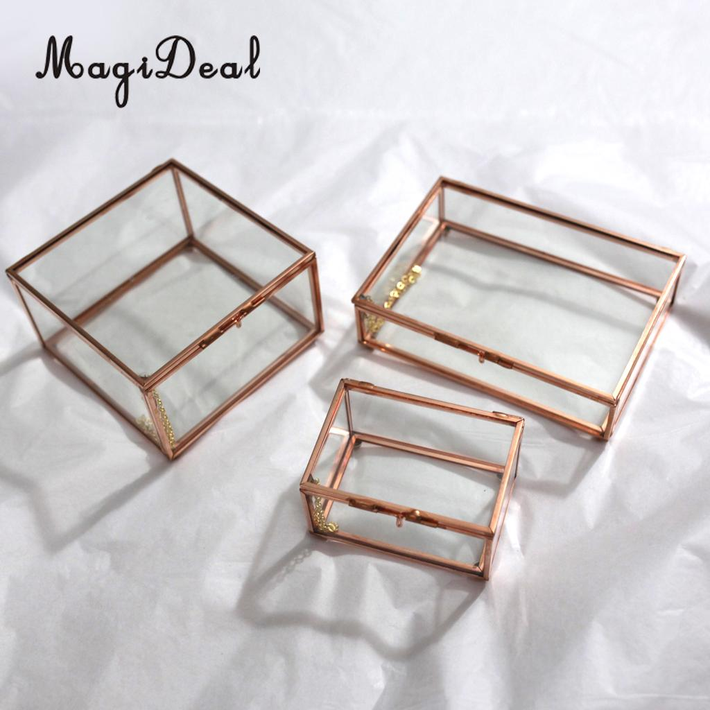 Moderno terrario geométrico cuboide de Metal de vidrio suculenta planta plantador contenedor joyería titular regalo Favor cobre
