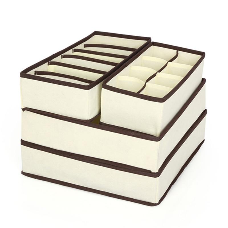 4 τεμάχια σετ κουτί αποθήκευσης διοργανωτή μπεζ διοργανωτές κουτιά για εσώρουχα, κασκόλ, κάλτσες, σουτιέν