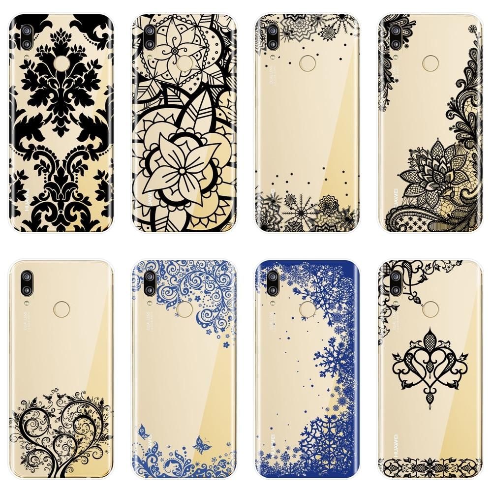 Para huawei p9 lite mini caso de telefone silicone macio estética rendas volta capa para huawei p8 p9 p10 p20 lite pro plus 2017 p inteligente
