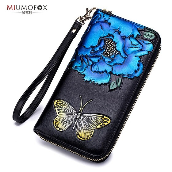 Flor bolsa feminina titular do cartão de crédito dia embraiagens rfid carteira feminina longo carteira embreagem moeda bolsa moda novo saco w227