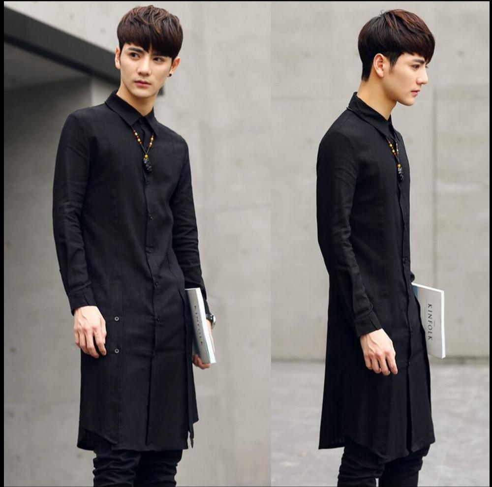 2020 Summer New Medium-long Shirt Men Slim Outerwear Fashion Thin Long-sleeve Linen Shirt Hairstylist Clothing Singer Costumes