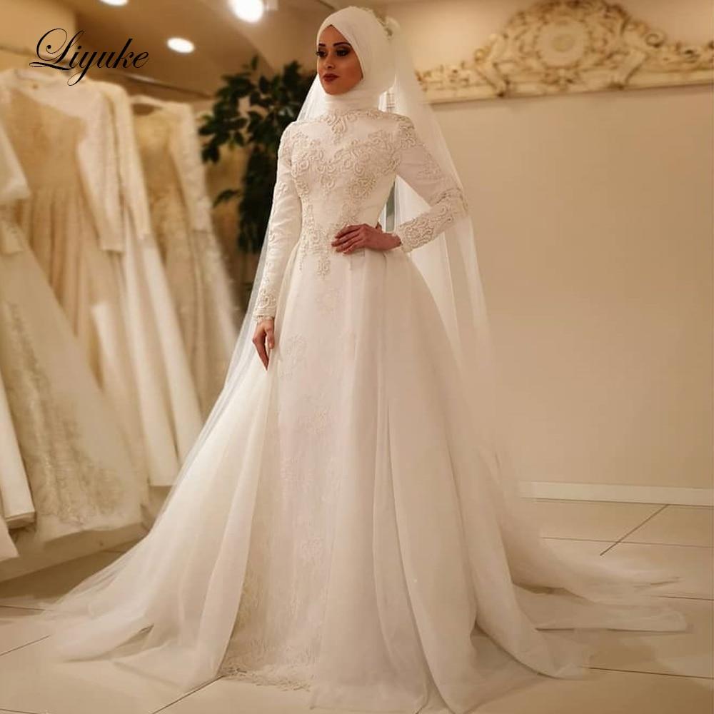 Liyuke Vestido De novia 2019 elegante manga larga O cuello musulmán vestidos De boda tul cremallera lazo trasero trajes De boda Islámica