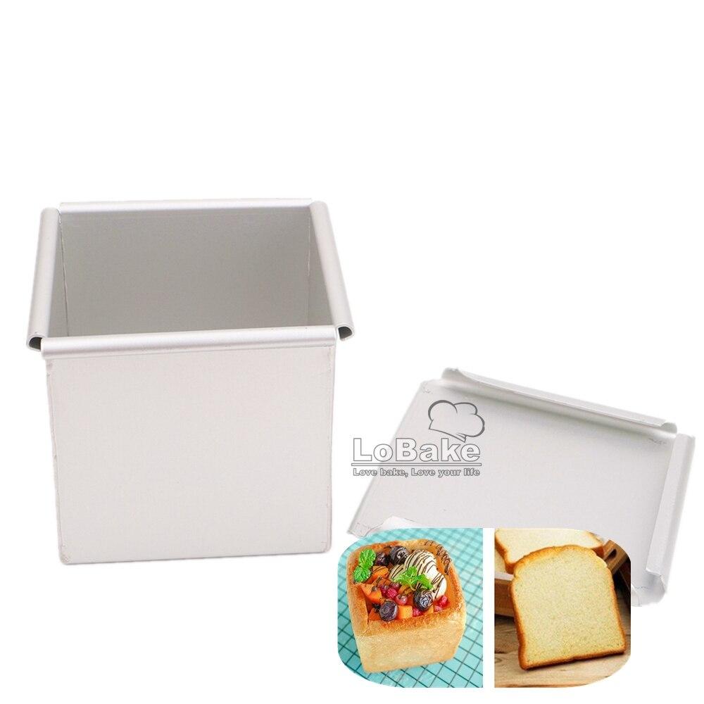 Neue 9*9*9cm 3D platz cube form glatte anodising aluminium brot toast box form mit deckel mousse mould loaf pan zinn formen DIY
