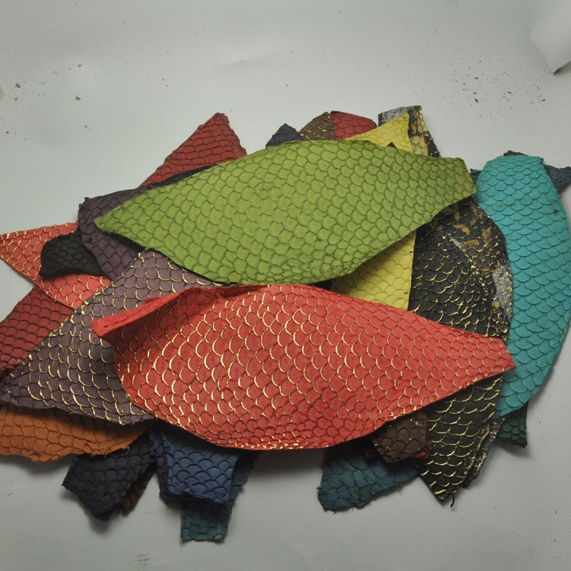 25*10cm Colorful Genuine Salmon fish skin leather piece multi color DIY bag belt shoes accessories
