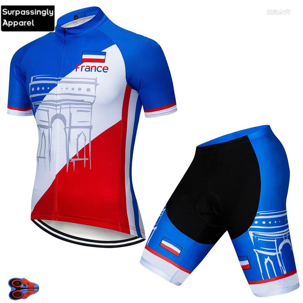 2019 equipo Francia ropa de ciclismo Jersey de bicicleta de secado rápido para Hombre Ropa de bicicleta de manga corta Camisetas de ciclismo pantalones cortos