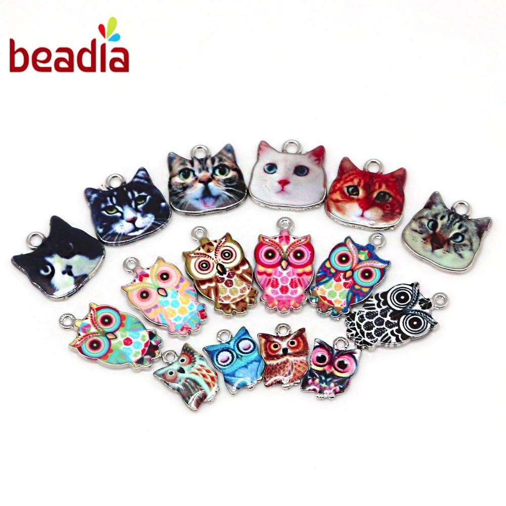 Atacado pingentes de coruja esmalte de gato, 10-30 peças, pingentes para diy, joia, colar, acessórios, buraco 1.5 2mm
