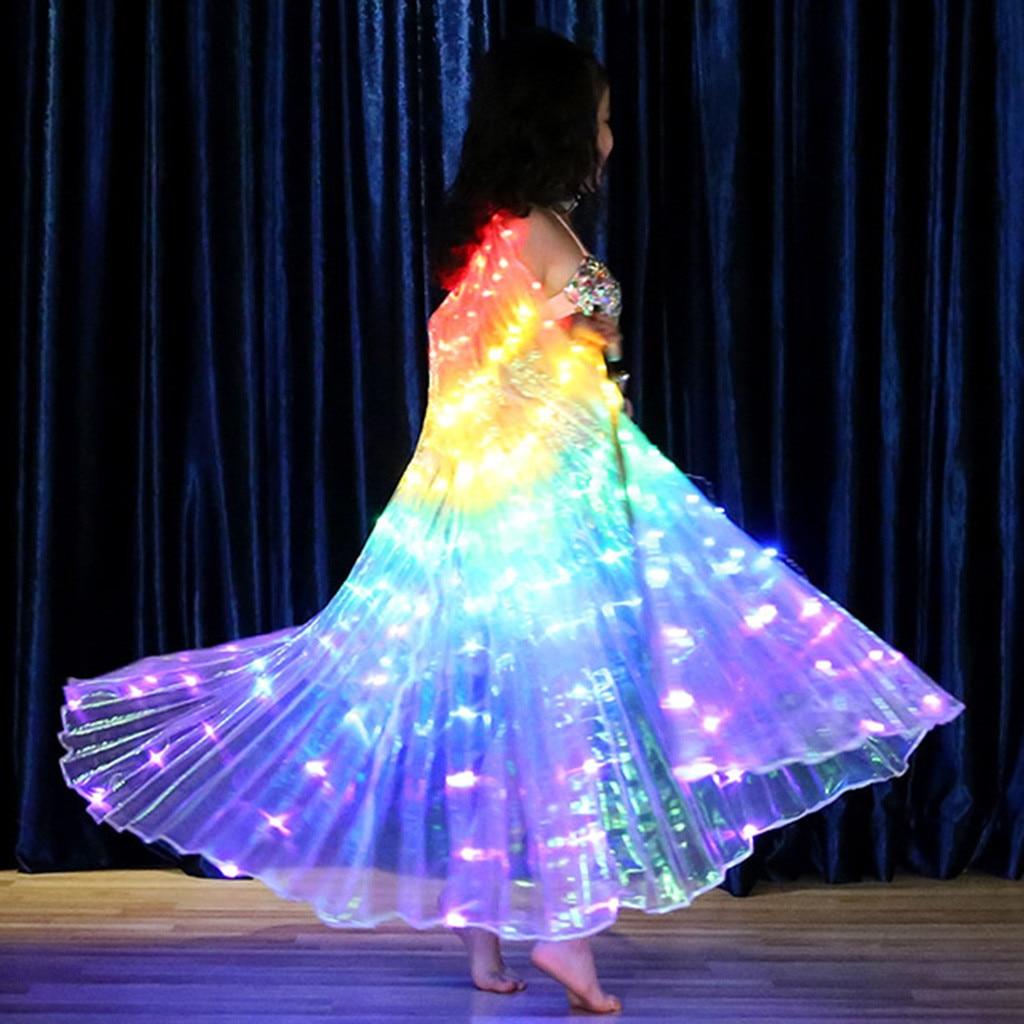 Crianças led asas de borboleta trajes de dança do ventre brilhante desempenho roupas com varas telescópicas palco desempenho adereços