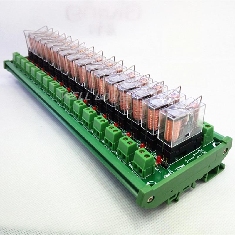 DIN Rail Mount 16 SPDT 16A Power Relay Interface Module,OMRON G2R-1-E DC24V Relay.