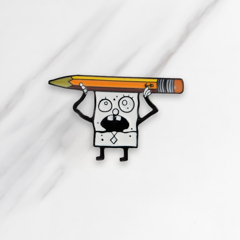 Bob Esponja lápiz broches esmaltados de dibujos animados divertido botón pines para ropa mochila distintiva joyas de Anime regalo para amigos niños