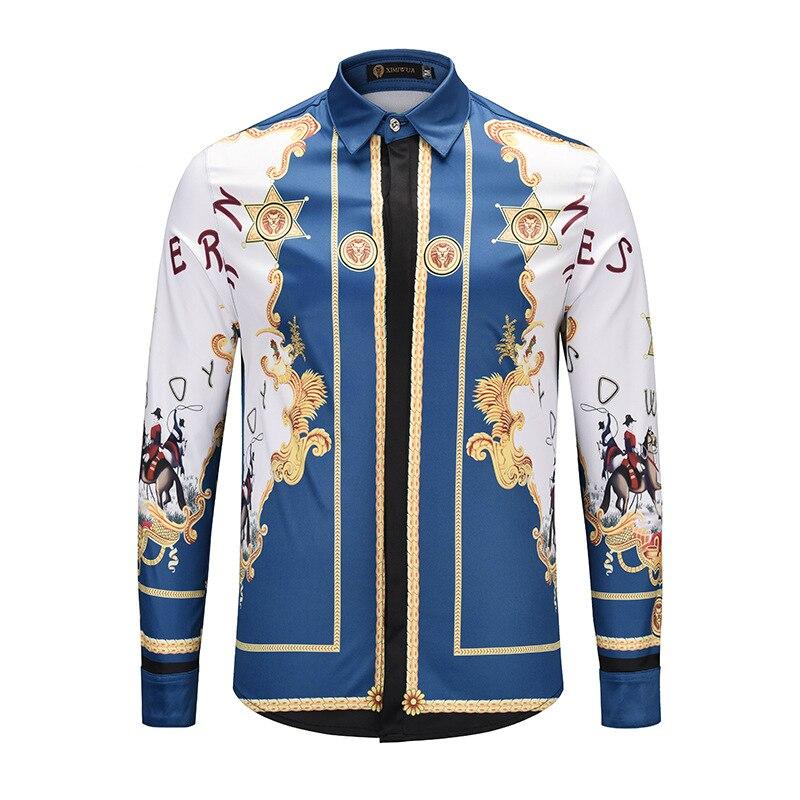 XIMIWUA 2019 New Arrival Hawaiian Shirt Long Sleeve Men Luxury Shirt Casual Fit Slim High Quality Men Shirts Camisa Masculina