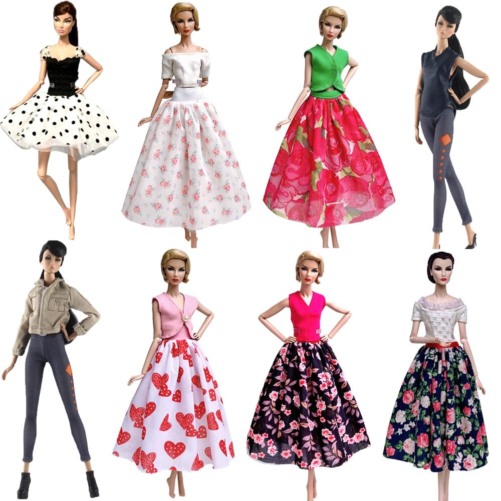 NK 1x нарядное Кукольное платье, топ, юбка, Одежда для куклы Барби, аксессуары, костюм, игровой домик, повседневная одежда, детские игрушки, подарок 07 JJ