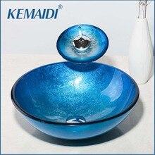 KEMAIDI évier avec cascade chromé   Peinture bleu, couleur lavabo rond, lavabo dart, verre clair trempé ensemble de robinets