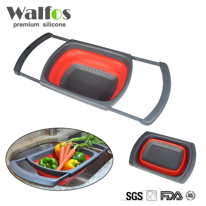 Walfos Food Grade Opvouwbare Siliconen Fruit Groente Zeef Wastafel Mand Keuken Koken Mand Zeef Gadget