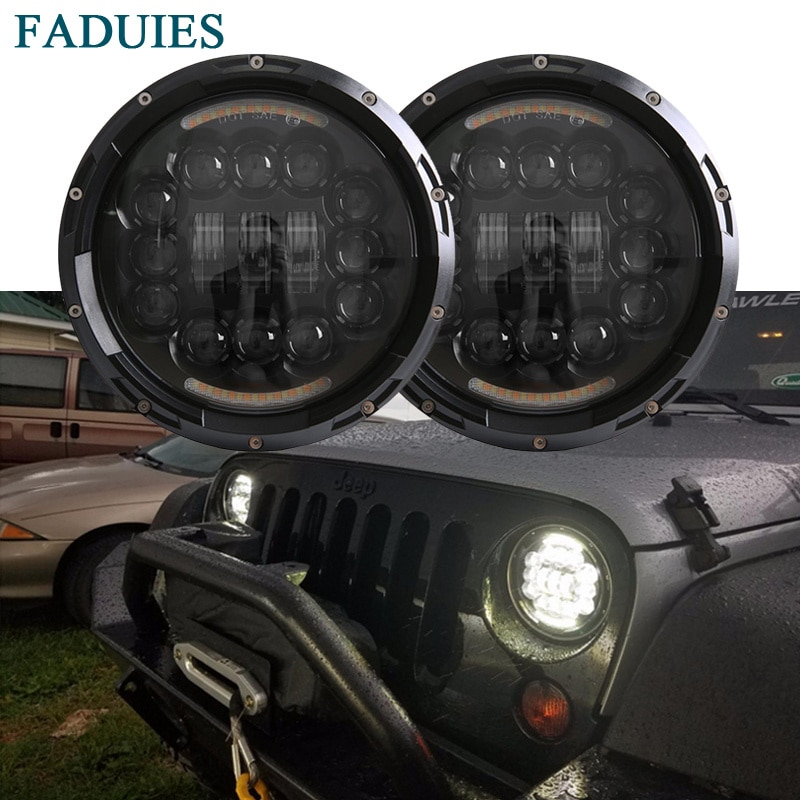 Faro LED de 7 pulgadas y 90W de FADUIES, faro Led H4 Hi/Lo para Jeep Wrangler JK CJ TJ Hummer H1 H2, faro LED para coche Kenworth T2000