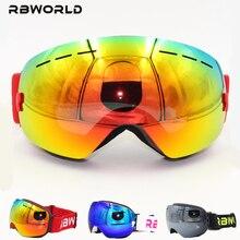 Nouvelle marque RBWORLD lunettes de ski Double UV400 couches anti-buée grand masque de ski lunettes ski hommes femmes neige snowboard lentille polarisée