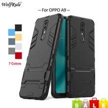 For Cover OPPO A9 Case WolfRule TPU & PC Holder Stand Bumper Protective Back Phone Case For OPPO A9