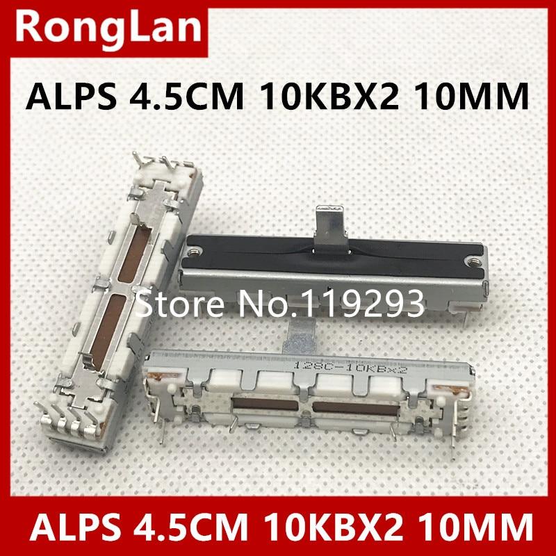 [SA]ALPS 4.5 cm 45MM slide potentiometers double B10KX2 10KBX2 10MM shaft whit midpoint--10PCS/LOT